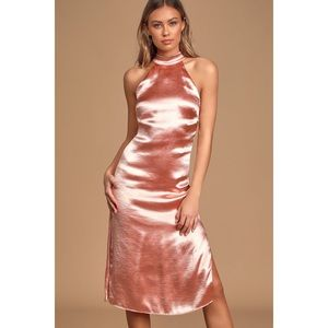 "Lulu's ""All Day, Everyday Pink"" Halter Satin Dress"